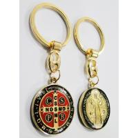 2466 - Chaveiro Medalha de São Bento 2,8 cm Dourado Colorido Luxo