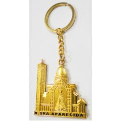 2639 - Chaveiro Basílica Aparecida Dourado 5 cm  altura x 4,5 cm largura