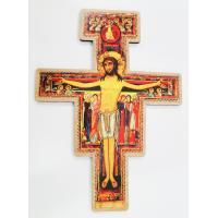 2828 -  Crucifixo São Damião em Madeira Para Parede 40 cm