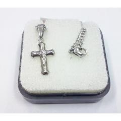 2196 - Cruz c/ Corrente em Inox P c/ Cristo Chapa Arredondada