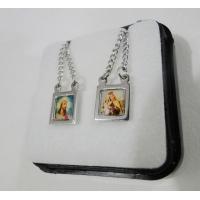 635 - Escapulário em Inox Colorido  Jesus e Carmo.