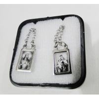 1123 - Escapulário Inox Retangular Borda Fina Jesus e Carmo Preto e Branco
