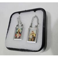 1124 - Escapulário Inox Retangular Borda Fina Jesus e Carmo Colorido
