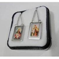 86 - Escapulário Inox Retangular Borda Espessa Jesus e Carmo Colorido