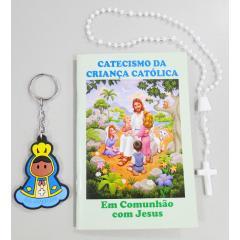9000 - KIT Com o  Livro Catecismo da Criança Católica + Chaveiro + Terço