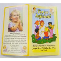 2426 - Folheto Terço Infantil Colorido com os Mistérios. Venda com 25 unidades. R$ 0,52 a Unidade.