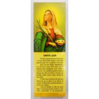 1146 - Marca Página Santa Luzia Com Oração com 50 Unidades. R$ 0,25 a Unidade.