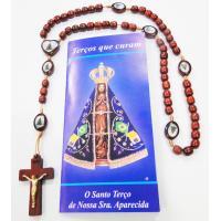 654 - Terço em Madeira 7 mm com Imagem no Entremeio e nos Pai Nossos com Folheto