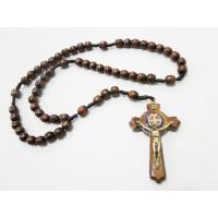 1139 - Terço de Madeira Grande com Cruz de São Bento 8 mm